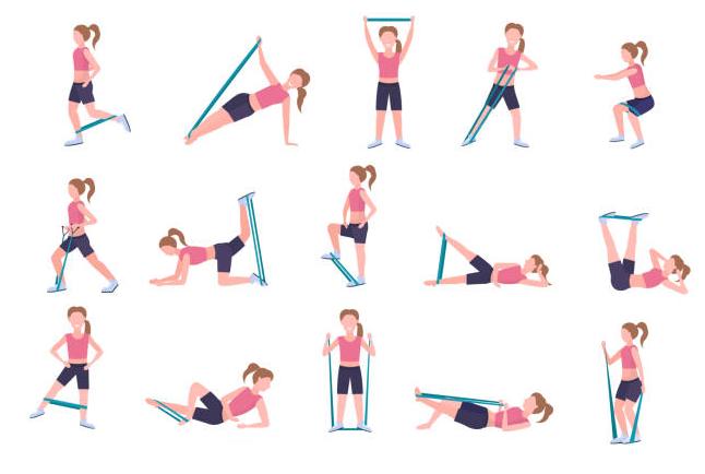 diferentes ejercicios con liga