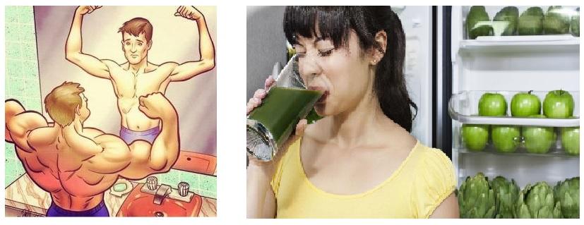 ilustraciones sobre vigorexia y ortorexia