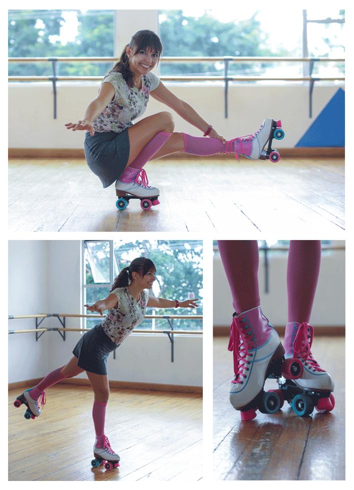 collage Carolina en patines
